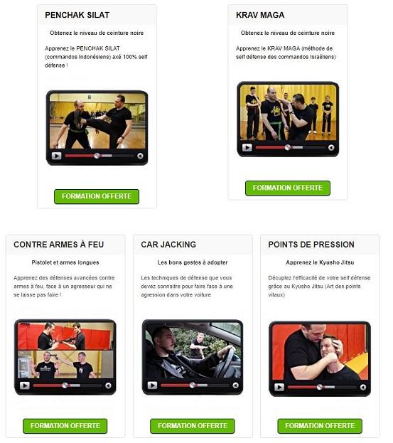 résumé des cours de self-défense en ligne proposés sur le site