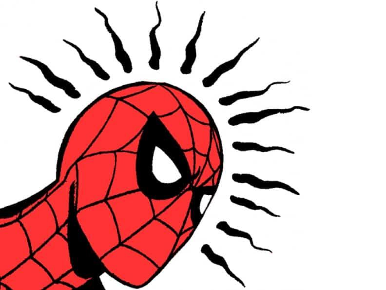 spiderman avec ses sens d'araignée en alerte